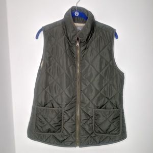 Market & Spruce Army Green Puff Bubble Vest Large